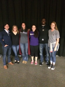 FCA Leaders (Left to Right): Logan Matthews (Belmont Golf), Shersty Stanton (Belmont Softball), McCarley Thomas (Lipscomb Softball), Taylor Neuhart (Lipscomb Softball), Oren Burks (Vanderbilt Football), Jocelyn Youngdahl (Belmont Volleyball); Not Pictured Tommy Openshaw (Vanderbilt Football)